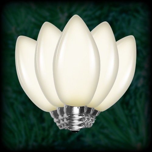 LED warm white C9 Christmas bulbs smooth, replacement, spare, 25 ...