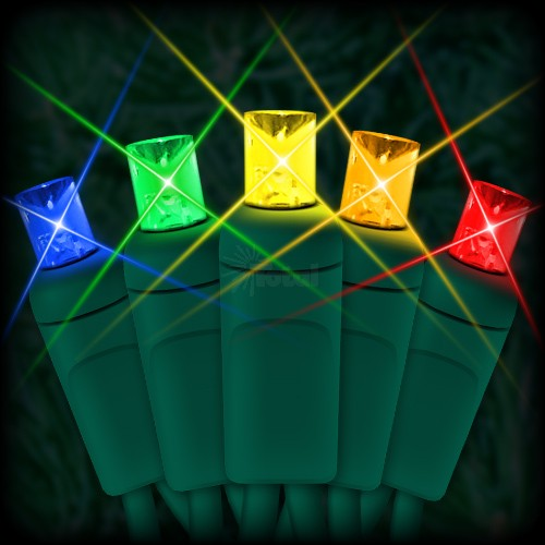led multi color christmas lights 50 5mm mini wide angle led bulbs 25 spacing 12ft green wire 120vac - Led Multicolor Christmas Lights