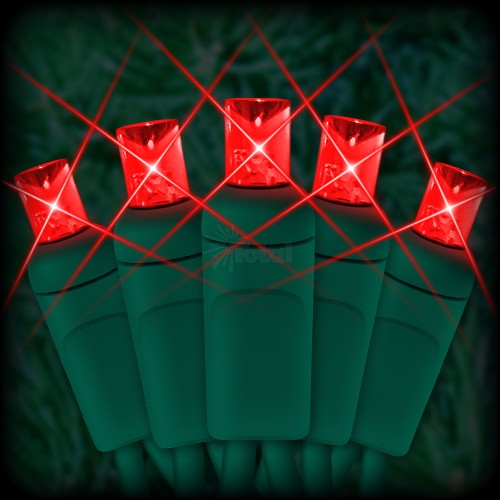 led red christmas lights 50 5mm mini wide angle led bulbs 25 spacing 12ft green wire 120vac - Green And Red Christmas Lights