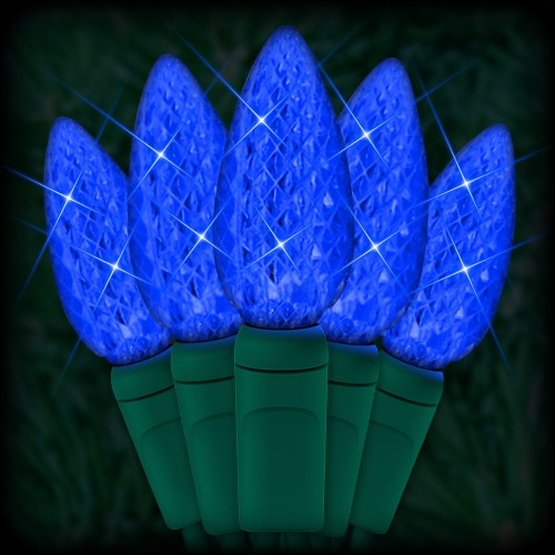 LED blue Christmas lights 35 C6 LED strawberry style bulbs 4 ...