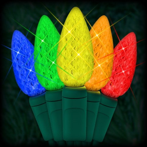 led multi color christmas lights 50 c6 led strawberry style bulbs 6 spacing 23ft green wire 120vac - Led Multicolor Christmas Lights