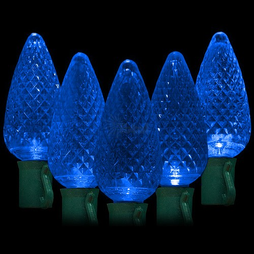 led blue christmas lights 50 c9 faceted led bulbs 8 spacing 342ft green wire 120vac - Light Blue Christmas Lights