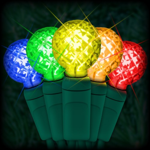 led multi color christmas lights 50 g12 mini globe led bulbs 4 spacing 17ft green wire 120vac - Led Multicolor Christmas Lights