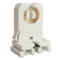 Fluorescent non-shunted bi-pin snap in socket with nut for T8 LED  lamps