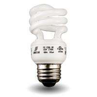 Bulk Mini Spiral Compact Fluorescent - CFL - 9 watt - 27K