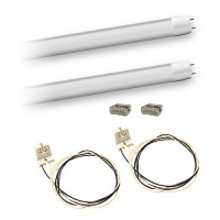 Bulk LED T8 4ft. 18watt FROSTED lens G13 base 2 lamp complete retrofit kit 4000K Natural White LED's