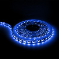Blue LED tape light 16ft 24volt DC SMD 5050 IP44 rated dimmable