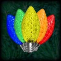 LED multi color C7 Christmas bulbs faceted, replacement, spare, 25 pack, 120VAC