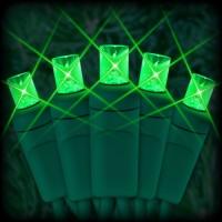 "LED green Christmas lights 50 5mm mini wide angle LED bulbs 6"" spacing, 23ft. green wire, 120VAC"