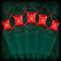 "LED red Christmas lights 50 5mm mini wide angle LED bulbs 2.5"" spacing, 12ft. green wire, 120VAC"