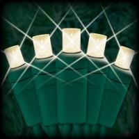 "LED warm white Christmas lights 50 5mm mini wide angle LED bulbs 2.5"" spacing, 12ft. green wire, 120VAC"
