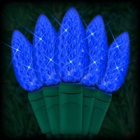 "LED blue Christmas lights 35 C6 LED strawberry style bulbs 4"" spacing, 12ft. green wire, 120VAC"