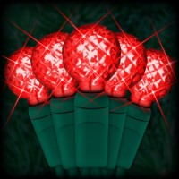 "LED red Christmas lights 50 G12 mini globe LED bulbs 4"" spacing, 17ft. green wire, 120VAC"