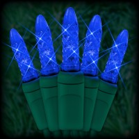 "LED blue Christmas lights 50 M5 mini LED bulbs 6"" spacing, 23ft. green wire, 120VAC"