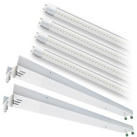 Bulk LED T12 8ft. CLEAR Lens 5000K 4 lamp complete retrofit tube kit Cool Bright White light