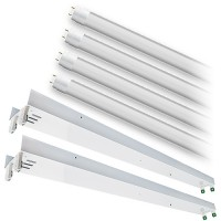 Bulk LED T12 8ft. FROSTED Lens 5000K 4 lamp complete retrofit tube kit Cool Bright White light