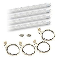 Bulk LED T8 4ft. 18watt CLEAR LENS retrofit DLC G13 base 4 lamp complete retrofit kit 5000K White White LED's