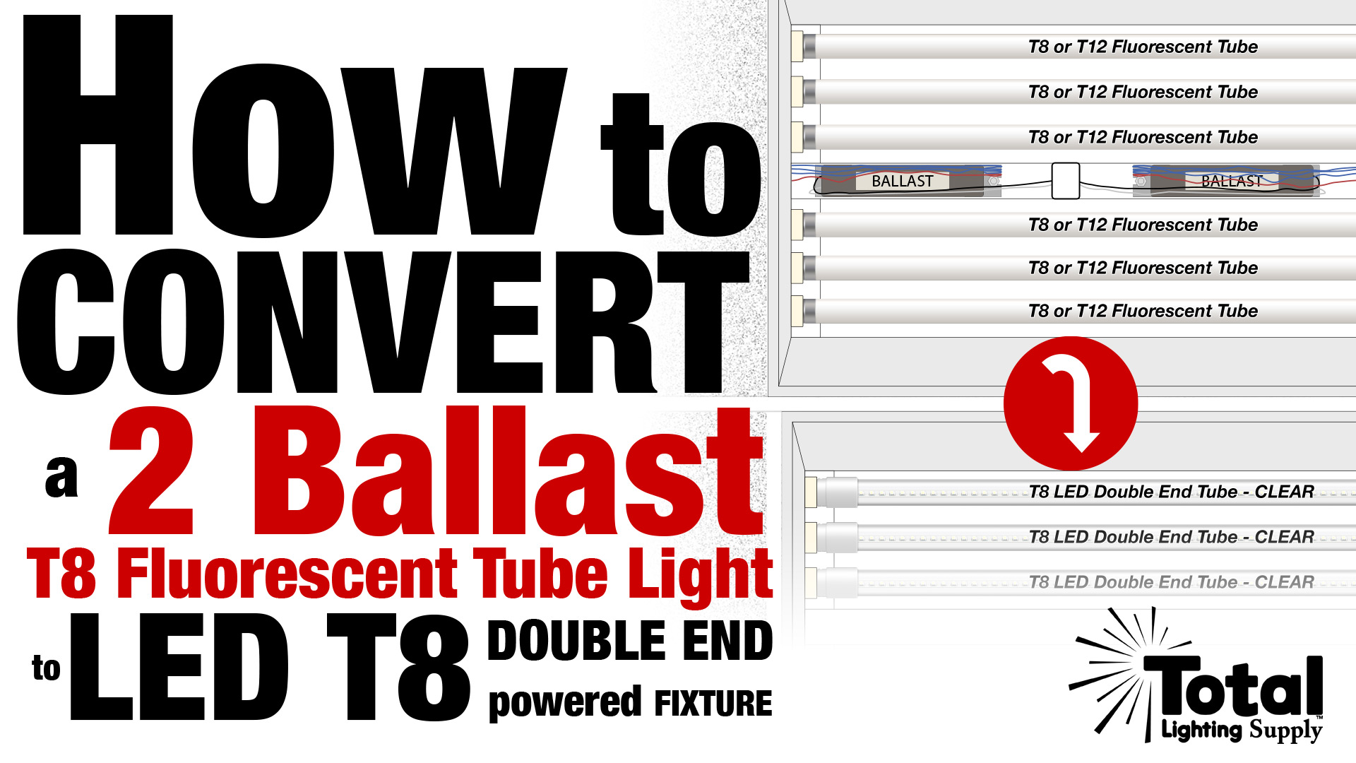 How To Convert A Two Ballast T8 Fluorescent Tube Light To