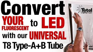 Universal LED Tube Converts your Fluorescent Fixture to LED in Minutes, WORKS with no Ballast too! Video